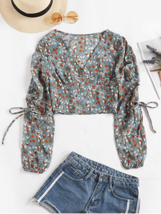 outfits V Neck Floral Cinched Sleeve Blouse - MULTI S