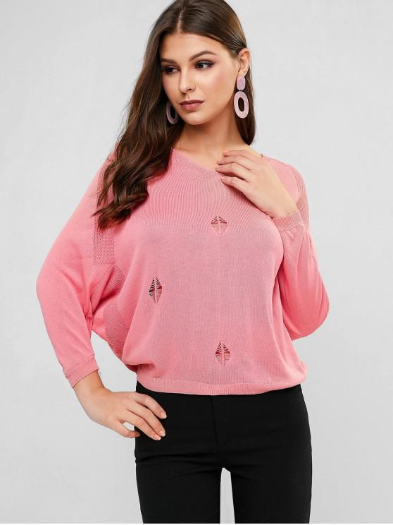 lady Batwing Sleeve Distressed V Neck Sweater - PINK ONE SIZE