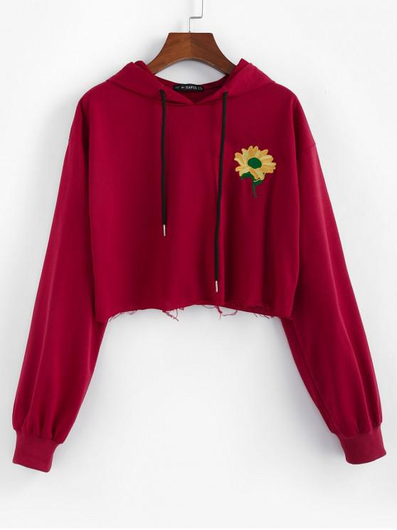 women ZAFUL Flower Embroidered Drawstring Cropped Hoodie - RED WINE L