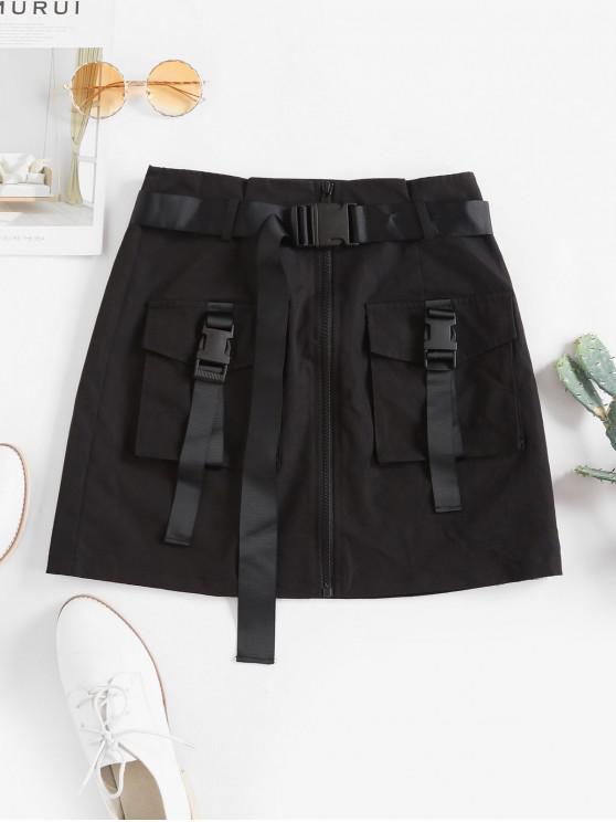 chic ZAFUL Push Buckle Zip Up Cargo Skirt - BLACK M