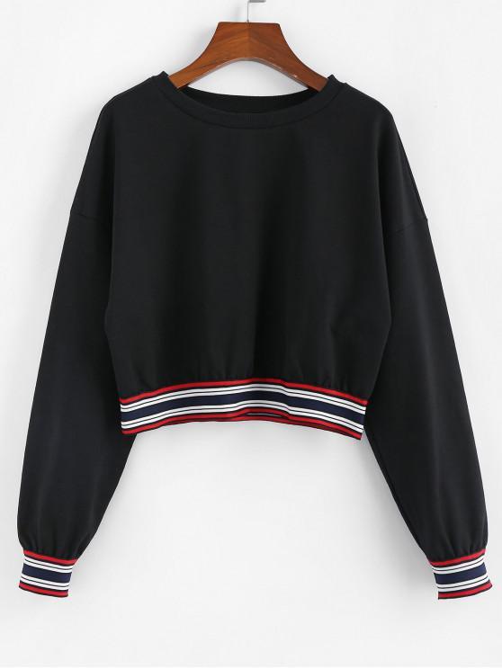 unique ZAFUL Striped Drop Shoulder Crop Sweatshirt - BLACK M