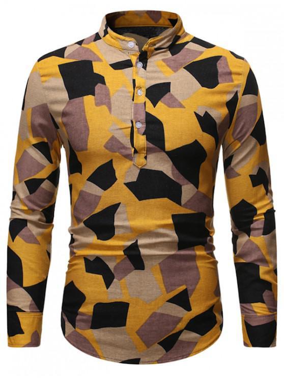 ladies Irregular Geometric Pattern Stand Collar Linen Shirt - MULTI S