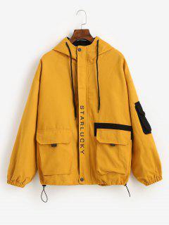 Hooded Letter Drop Shoulder Pockets Jacket - Yellow L