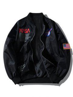 ZAFUL Letter Graphic Embroidery American Flag Applique Pocket Jacket - Black L
