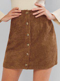 ZAFUL Corduroy Button Fly High Rise Skirt - Chestnut M