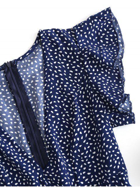 Mini-Robe Goutte de Pluie Imprimé à Volants - Ardoise bleue foncée XL Mobile