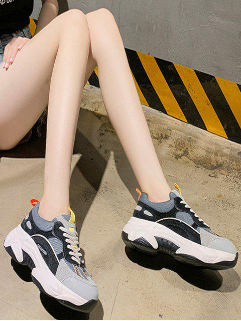 womens Color-blocking Breathable Lace Up Dad Sneakers - BLACK EU 37 Mobile