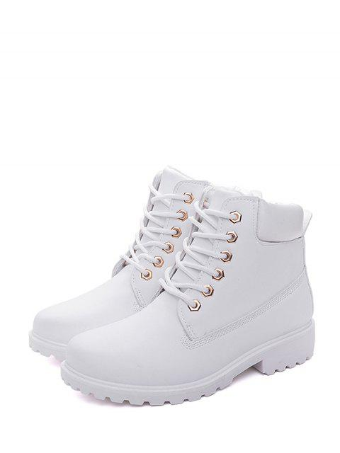 women PU Leather Lace Up Brushed Cargo Boots - MILK WHITE EU 36 Mobile