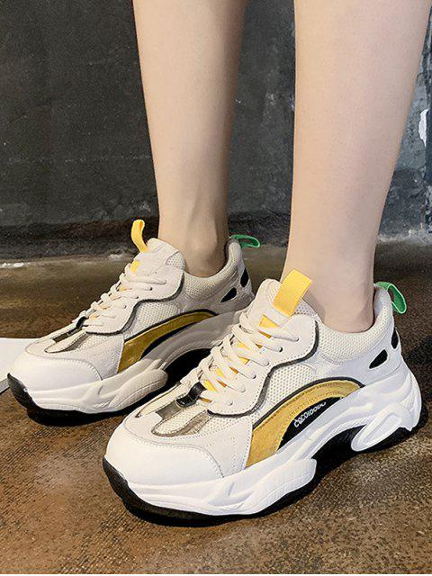 lady Color-blocking Breathable Lace Up Dad Sneakers - BEE YELLOW EU 36 Mobile