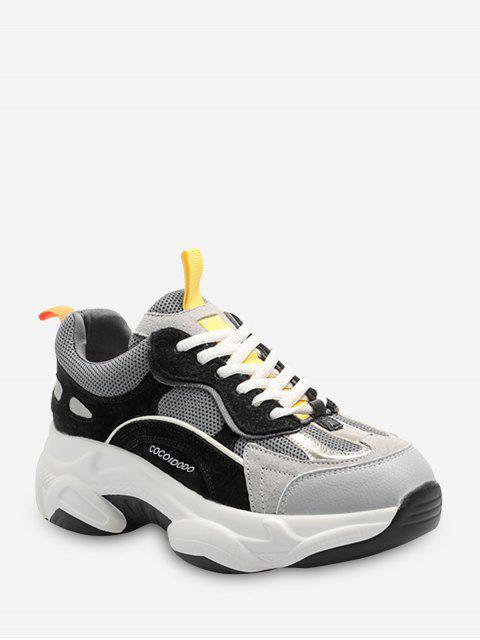 outfits Color-blocking Breathable Lace Up Dad Sneakers - BLACK EU 39 Mobile