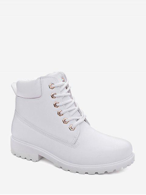 trendy PU Leather Lace Up Brushed Cargo Boots - MILK WHITE EU 40 Mobile