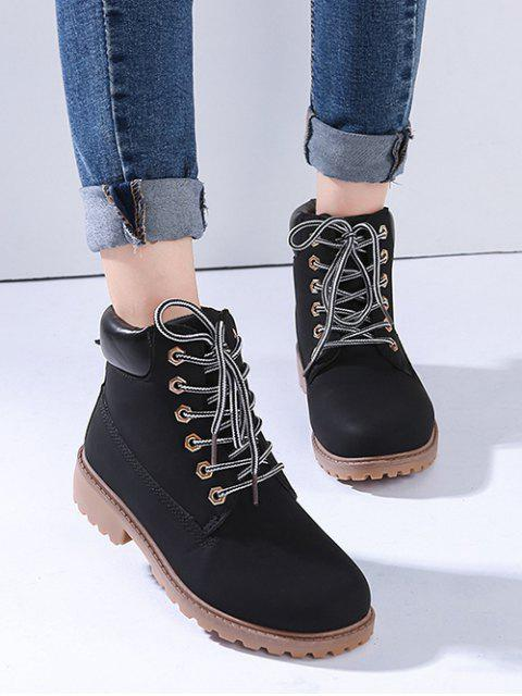 trendy PU Leather Lace Up Brushed Cargo Boots - BLACK EU 38 Mobile