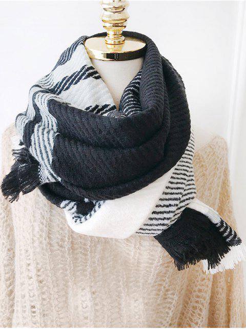 sale Plaid Design Tassel Long Scarf - BLACK  Mobile