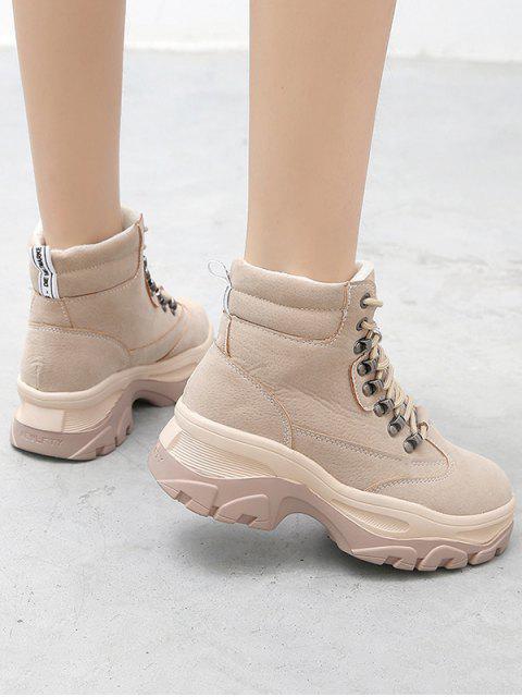 Британский стильНа платформеНа устойчивом каблуке Короткие Сапоги - Бежевый ЕС 35 Mobile