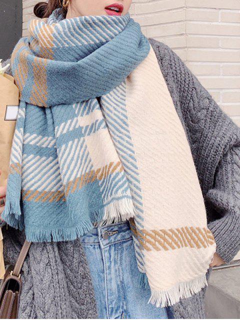 sale Plaid Design Tassel Long Scarf - BLUE GRAY  Mobile