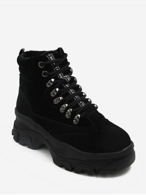 womens British Style Platform Chunky Heel Short Boots - BLACK EU 36 Mobile