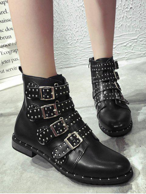 ladies Rivet Buckle Studded Motorcycle Boots - BLACK EU 37 Mobile