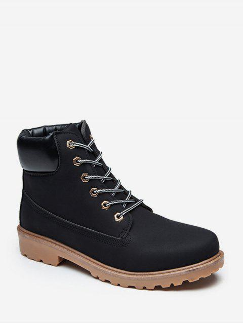 online PU Leather Lace Up Brushed Cargo Boots - BLACK EU 39 Mobile