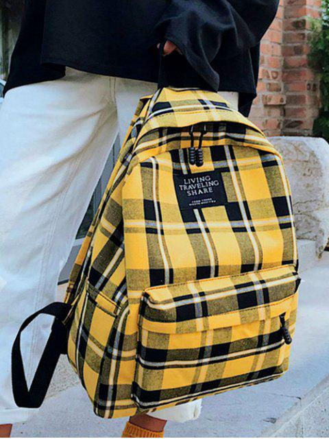 affordable Grid Pocket Design Student Chic Backpack - SUN YELLOW  Mobile