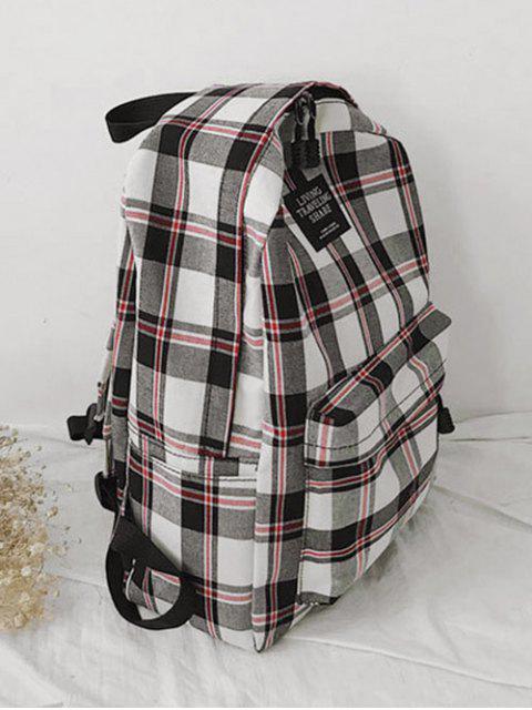 trendy Grid Pocket Design Student Chic Backpack - WARM WHITE  Mobile