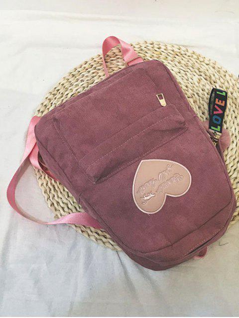women Heart Letter Fuzzy Ball Pendant Backpack - KHAKI ROSE  Mobile