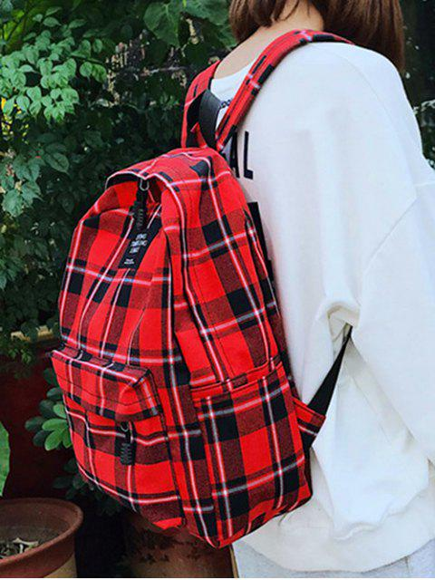 lady Grid Pocket Design Student Chic Backpack - ROSSO RED  Mobile