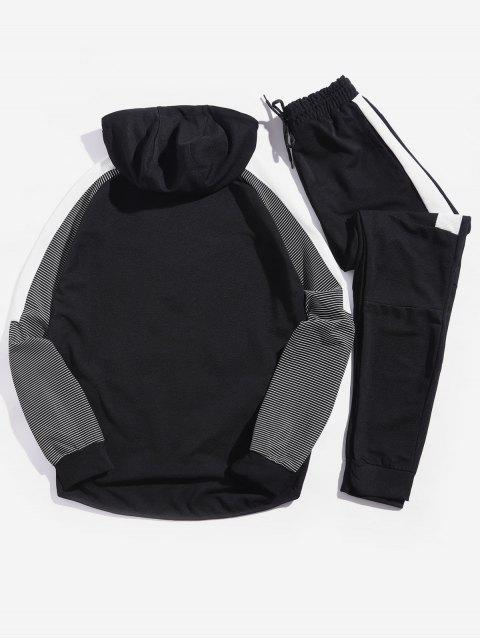 trendy Colorblock Spliced Stripe Raglan Sleeve Drawstring Jacket and Jogger Pants - BLACK S Mobile