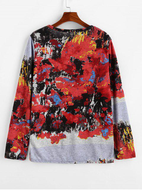 sale Round Neck Vintage Printed Sweater - RED 2XL Mobile