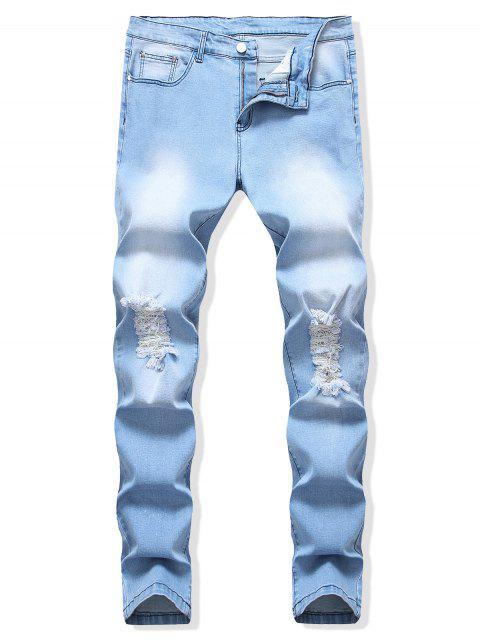 shop Destroyed Decoration Light Wash Casual Jeans - DAY SKY BLUE 36 Mobile