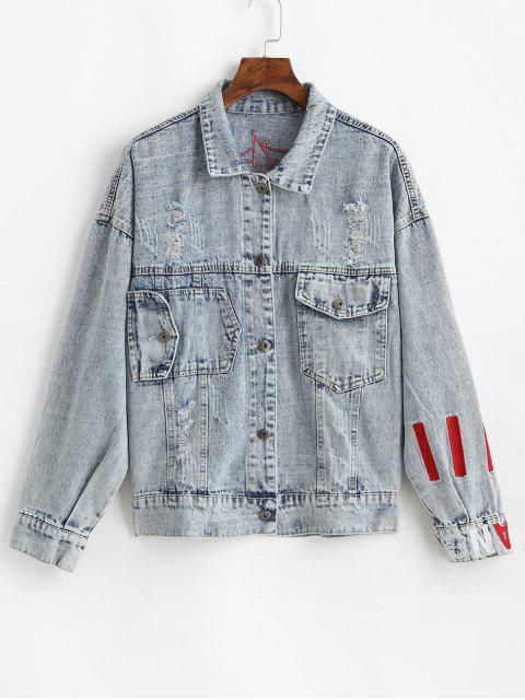 womens Letter Embroidered Drop Shoulder Ripped Denim Jacket - BLUE ONE SIZE Mobile