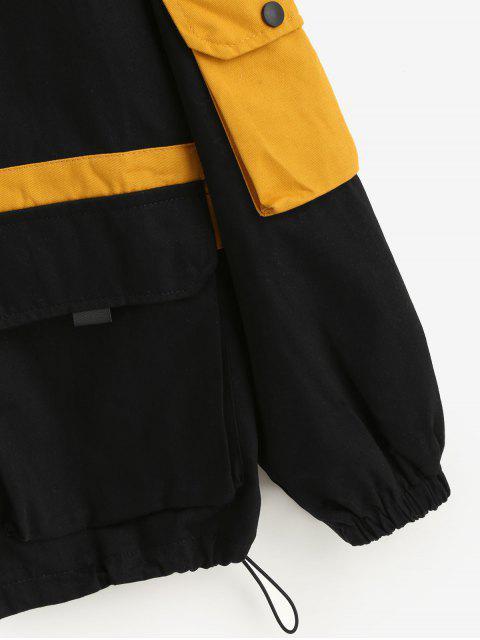 trendy Hooded Letter Drop Shoulder Pockets Jacket - BLACK XL Mobile