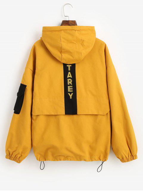 Kapuze Buchstabr Tiefe Schultertaschen Jacke - Gelb S Mobile