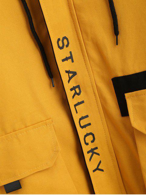 Kapuze Buchstabr Tiefe Schultertaschen Jacke - Gelb XL Mobile