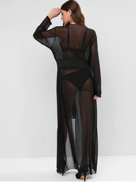 online Sheer Mesh Tie Front Longline Top - BLACK ONE SIZE Mobile