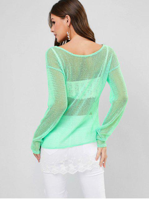 Кружевной край Вязание Топ - Зеленый Один размер Mobile