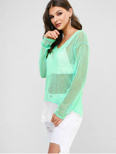 hot Lace Hem Crochet Top - GREEN ONE SIZE Mobile