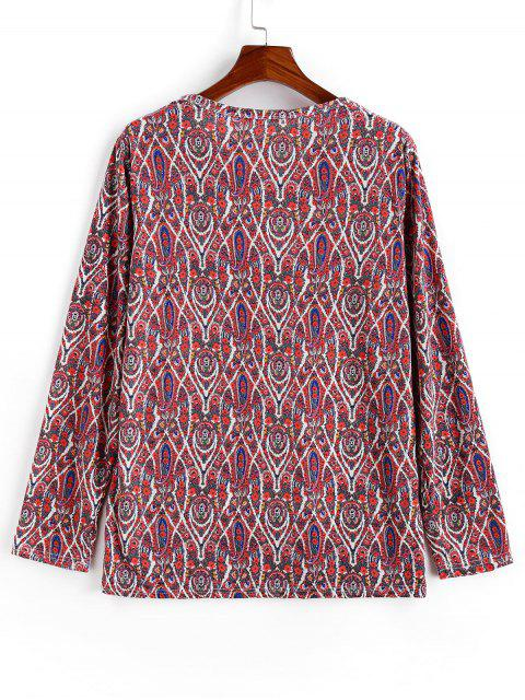 outfit Casual Paisley Pattern Sweater - RED XL Mobile