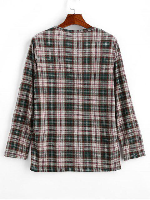 shops Plaid Pattern Round Neck Casual Sweater - LIGHT KHAKI XL Mobile