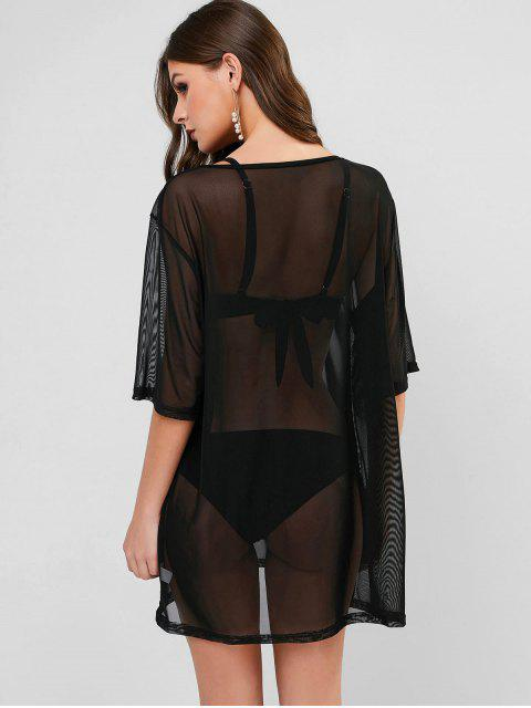 shop See Through Mesh Cover-up Dress - BLACK ONE SIZE Mobile
