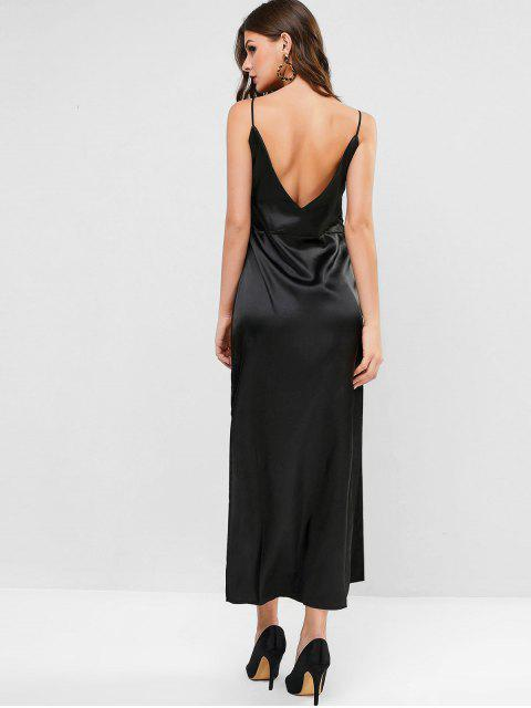 chic Slit Satin Maxi Slip Dress - BLACK S Mobile