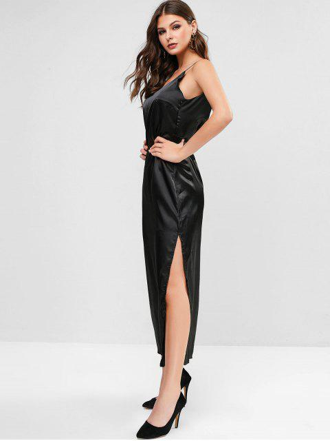 outfits Slit Satin Maxi Slip Dress - BLACK M Mobile