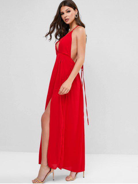 Vestido Maxi Frente Única Costa Aberta com Amarra - Vermelho S Mobile