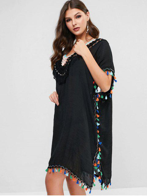 new Tassels Crochet Panel Kaftan Dress - BLACK ONE SIZE Mobile