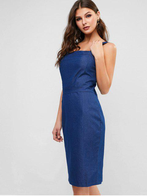 hot Square Collar Chambray Pencil Dress - BLUE M Mobile