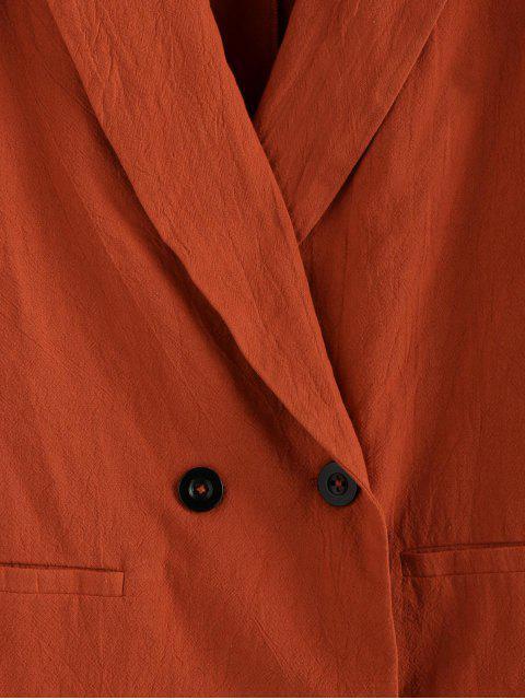 hot ZAFUL Lapel Double Breasted Longline Blazer - ORANGE SALMON S Mobile