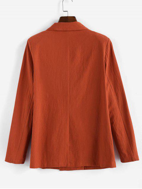 buy ZAFUL Lapel Double Breasted Longline Blazer - ORANGE SALMON L Mobile