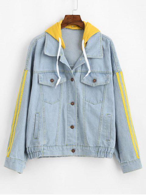 best Hooded Striped Drop Shoulder Denim Jacket - BLUE S Mobile