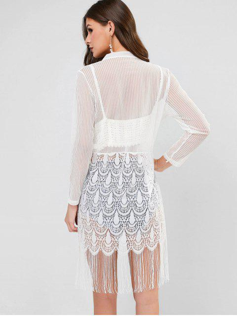 shops See Through Fringed Lace and Mesh Top - WHITE ONE SIZE Mobile