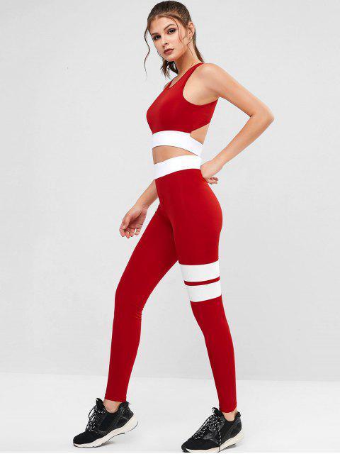 Dos tonos recorte de talle alto de dos piezas traje de gimnasio - Rojo M Mobile