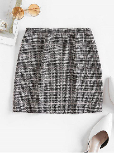shop ZAFUL Houndstooth Plaid Mini Skirt - MULTI-A S Mobile